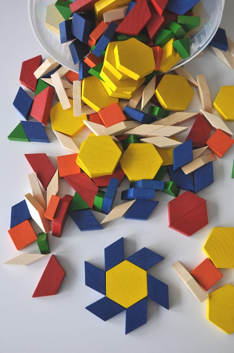 Mosaik i trä utan mönsterkort