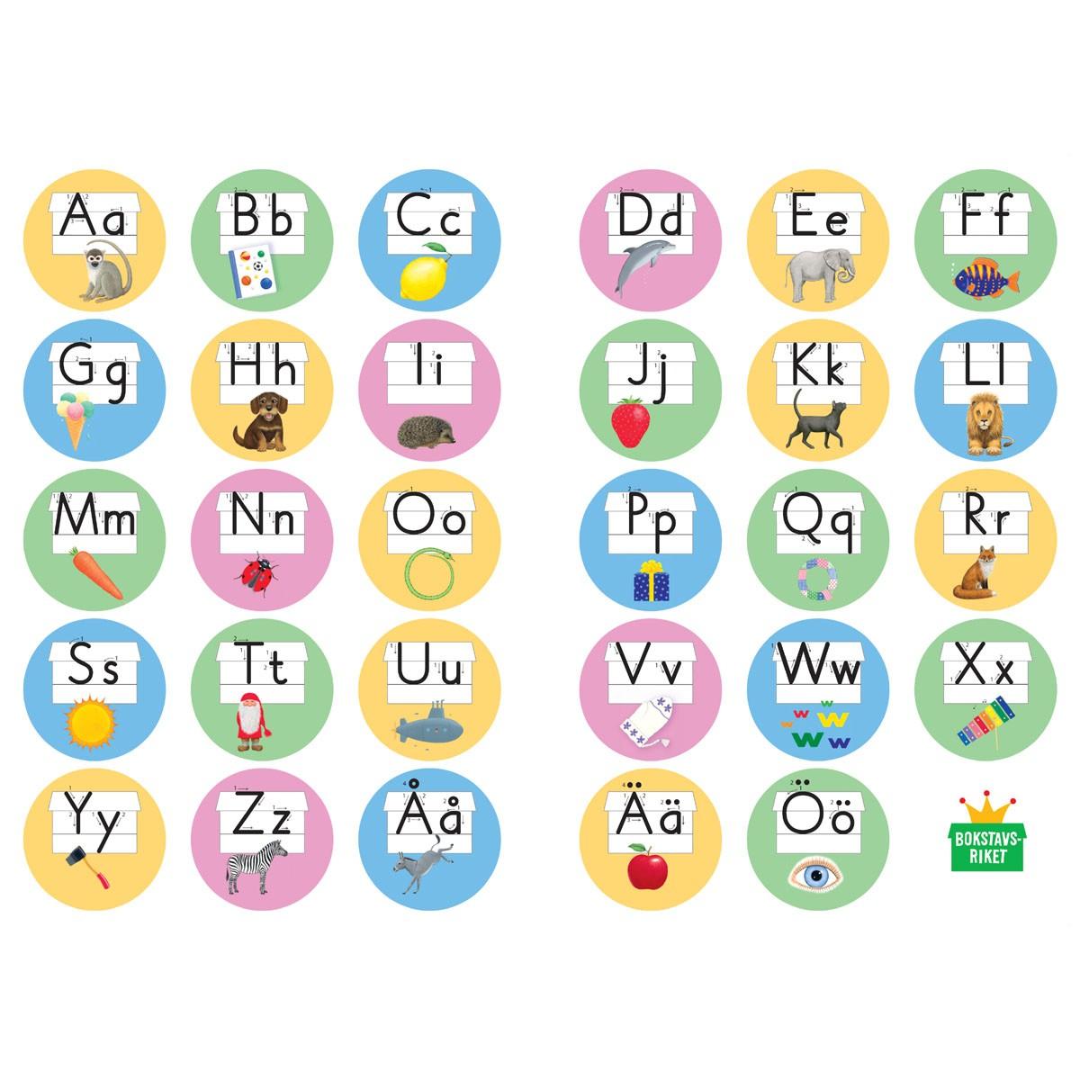 Extra klistermärkesark till alfabetshäfte, 8-pack