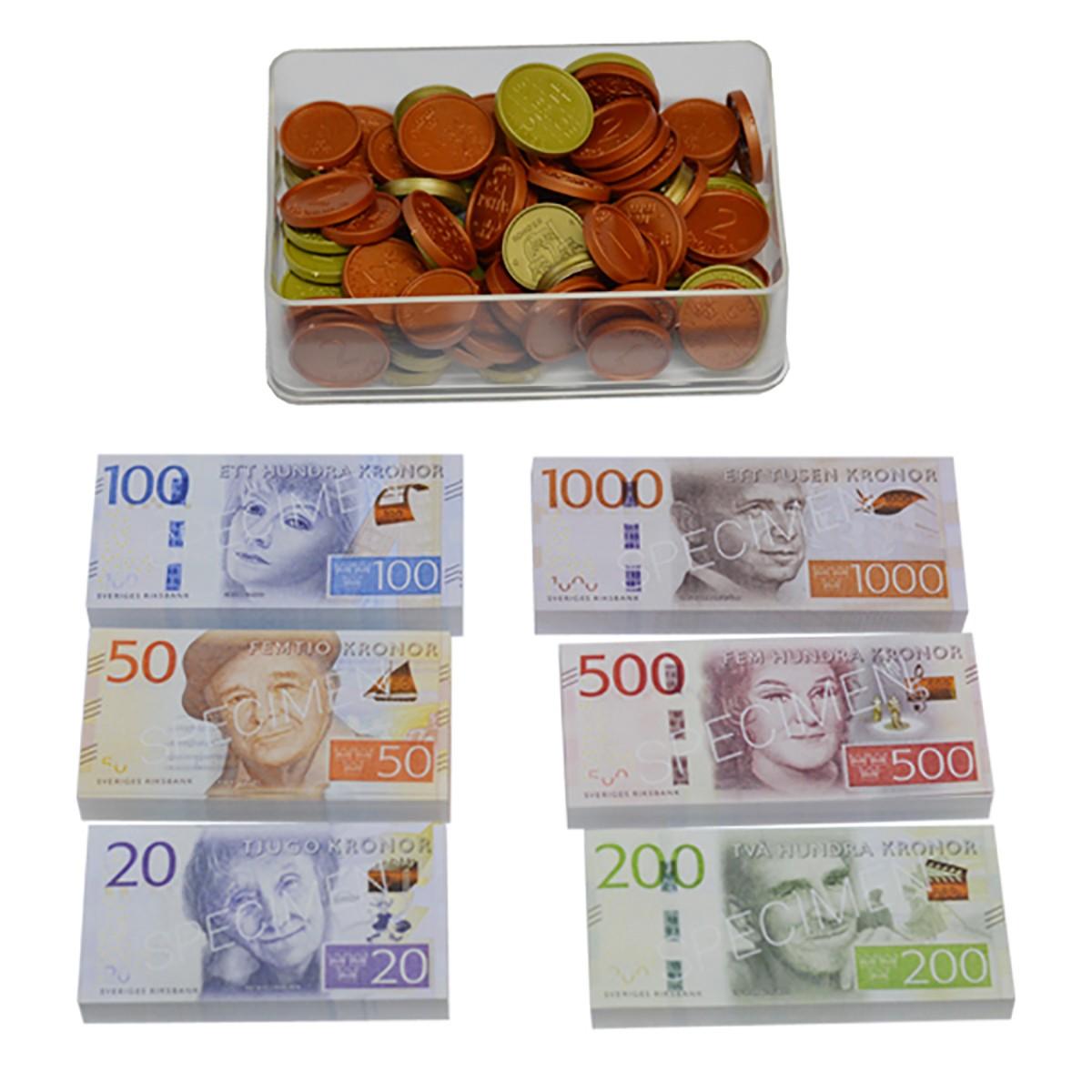 Blandade mynt och sedlar