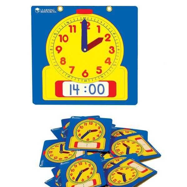 Klassrumsset, 24-pack elevklockor + förev.klocka