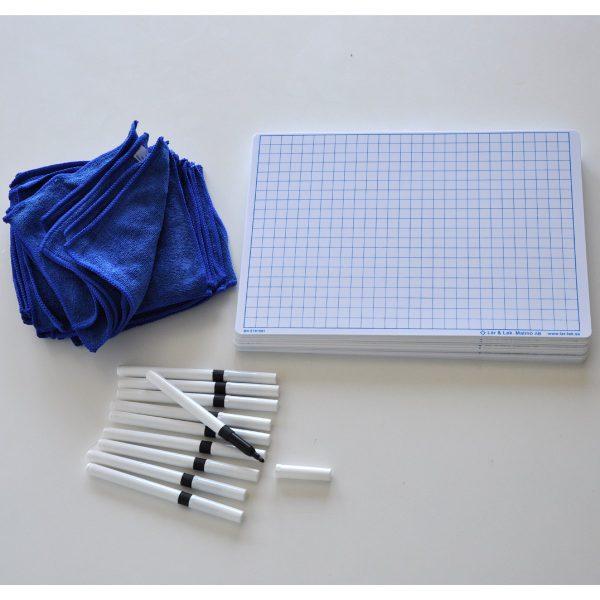 Räknetavlor A4 + Whiteboardpennor & Mikrofiberdukar 30-pack