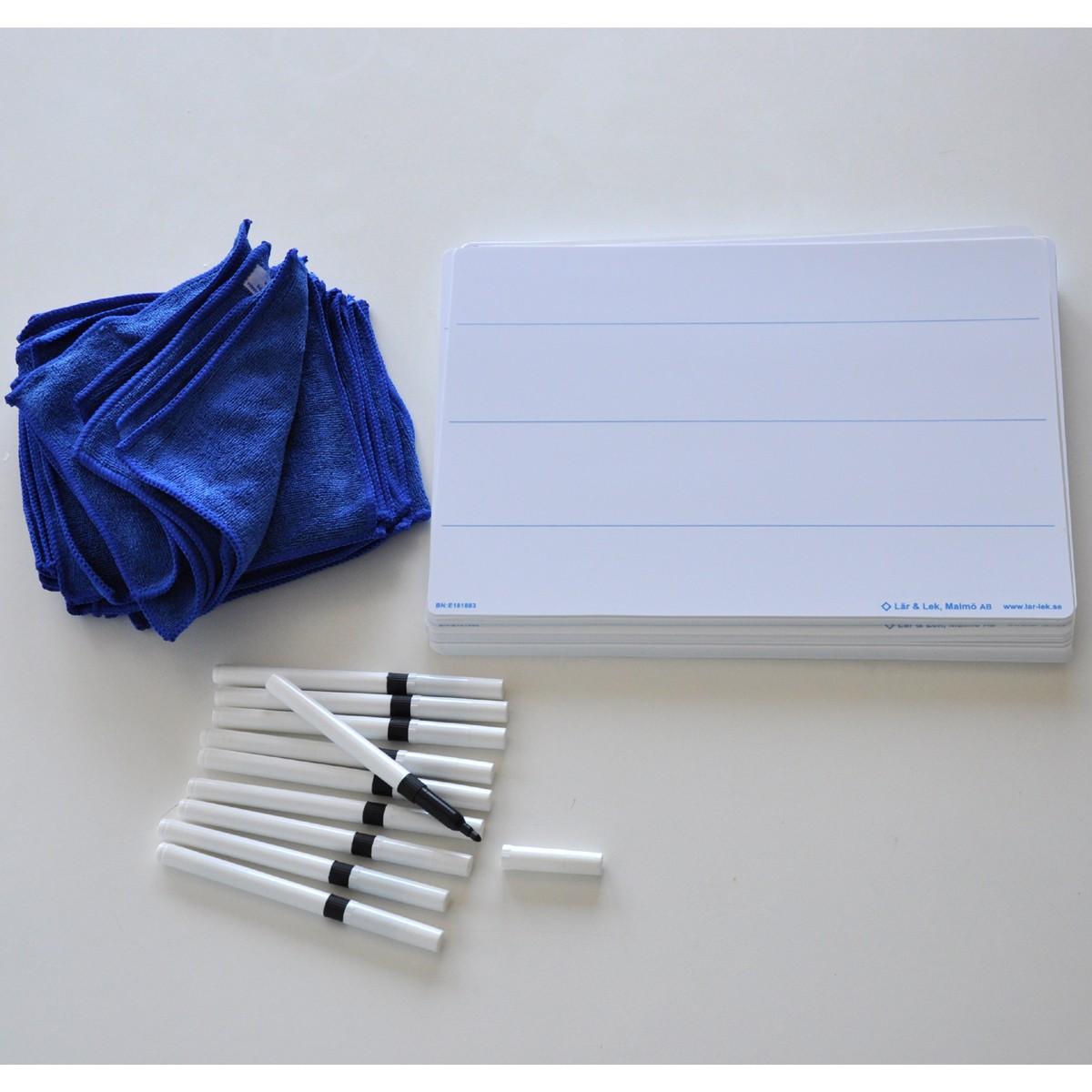 Skrivtavla A4 linjerad + Whiteboardpennor & Mikrofiberdukar 30-pack