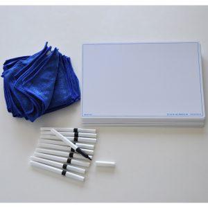 Skrivtavla A4 Blank + Whiteboardpennor & Mikrofiberdukar 30-pack