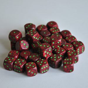 Chessex tärningar 36-pack, Strawberry