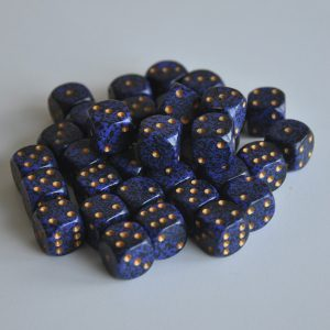 Chessex tärningar 36-pack, Golden Cobalt