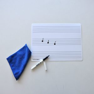 Not-tavla A4 + whiteboardpenna + mikrofiberduk