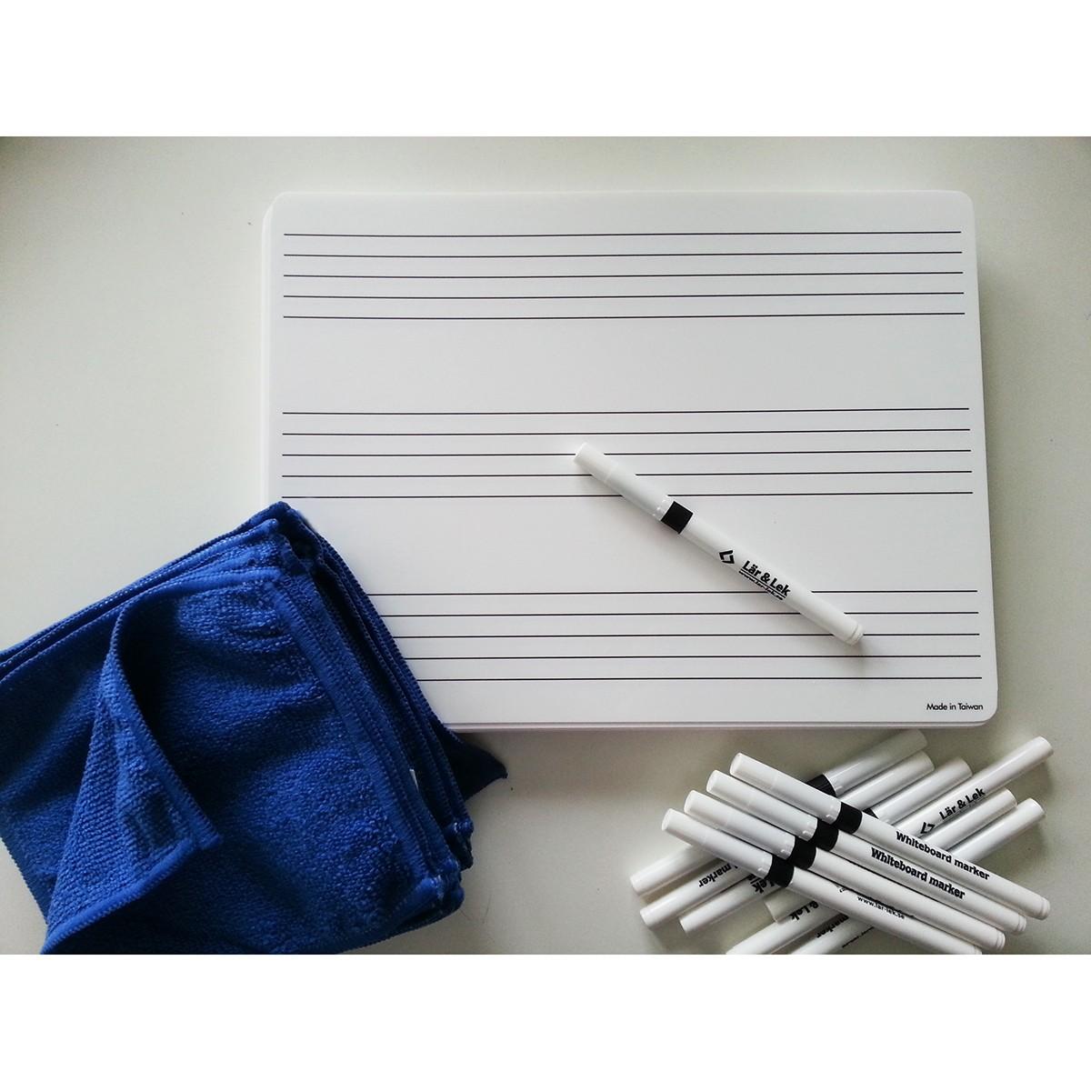 Not-tavla A4 + Whiteboardpennor & Mikrofiberdukar 30-pack