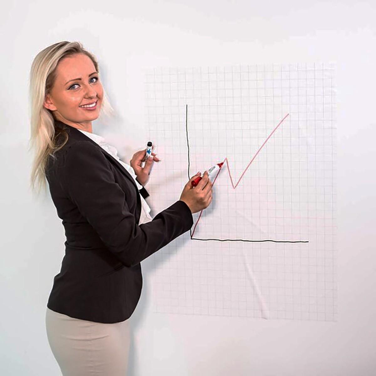 Magic Whiteboard 60x80cm rutmönstrat 25-pack