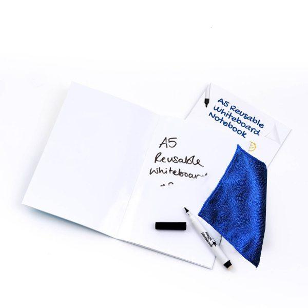 Whiteboard Skrivhäfte A5 blank + penna + mikrofiberduk