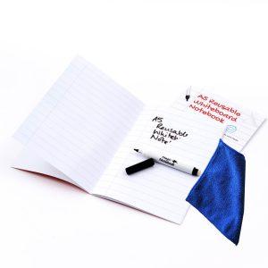 Whiteboard Skrivhäfte A5 linjerad + penna + mikrofiberduk