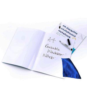 Whiteboard Skrivhäfte A4 blank + penna + mikrofiberduk