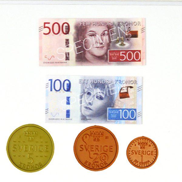 Demopengar med magnet - 3 nya mynt och 2 nya sedlar