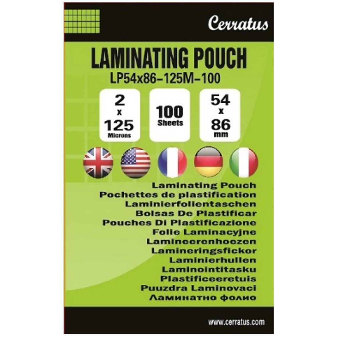 Pochettes plastification 54x86mm 100-pack