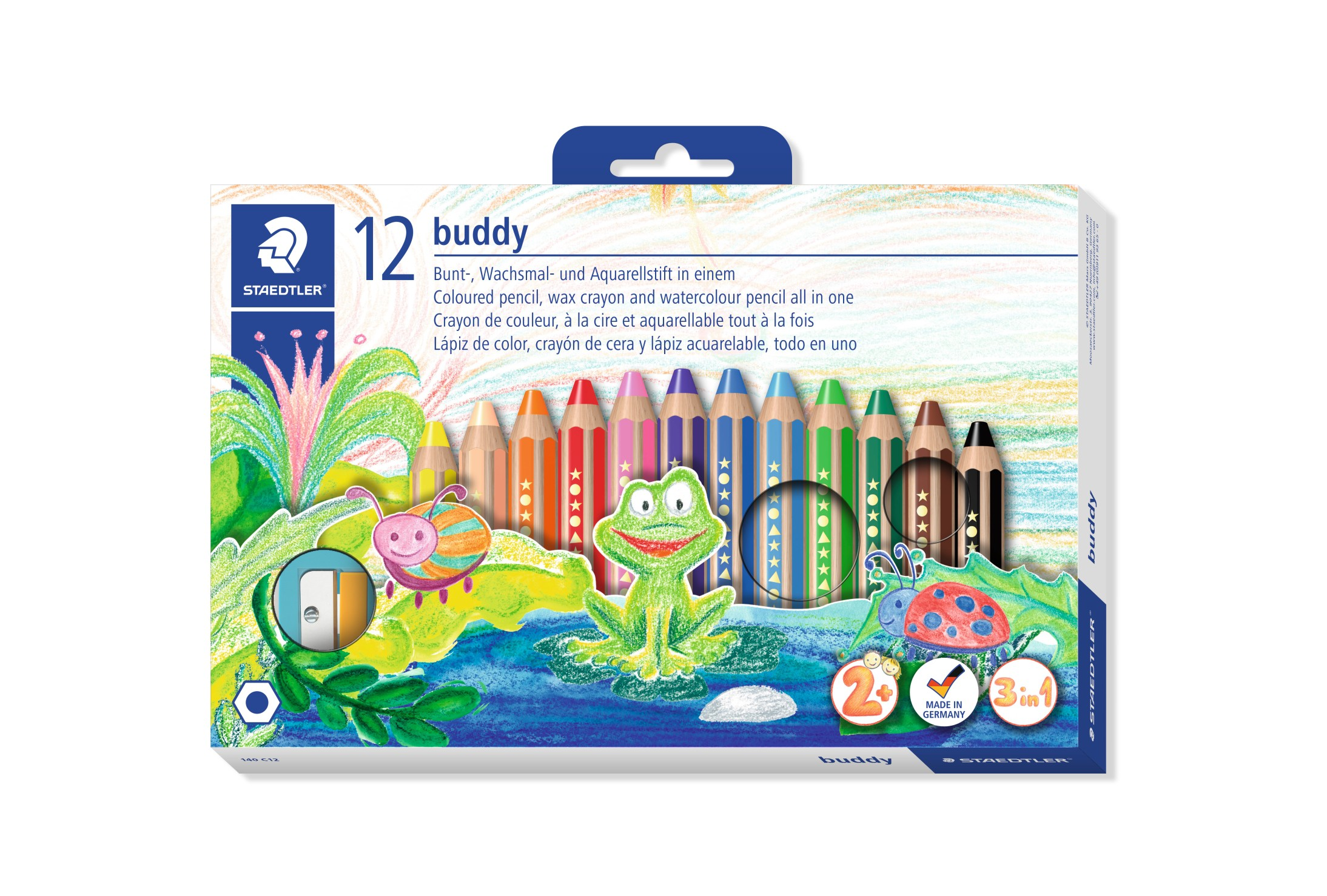 Färgblyertspenna Buddy knubbis 3i1 12-pack